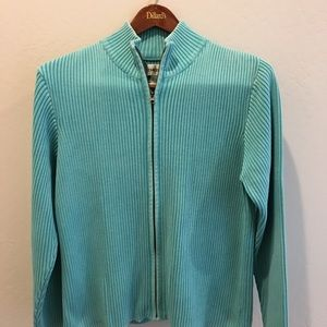 Chico's women's zip up sweater size 3. Teal, EUC.